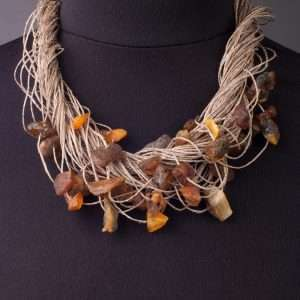 Eco Amber Linen Necklace