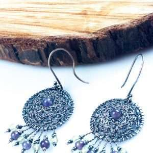Amethyst in the Silver Net Earrings