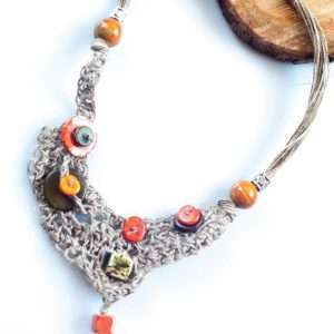 Asymmetrical Linen Necklace