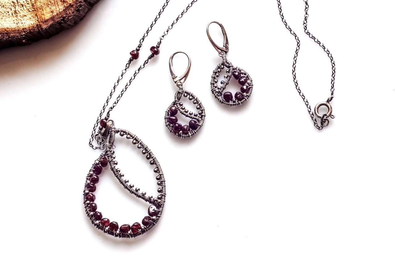 Braided Garnet Necklace
