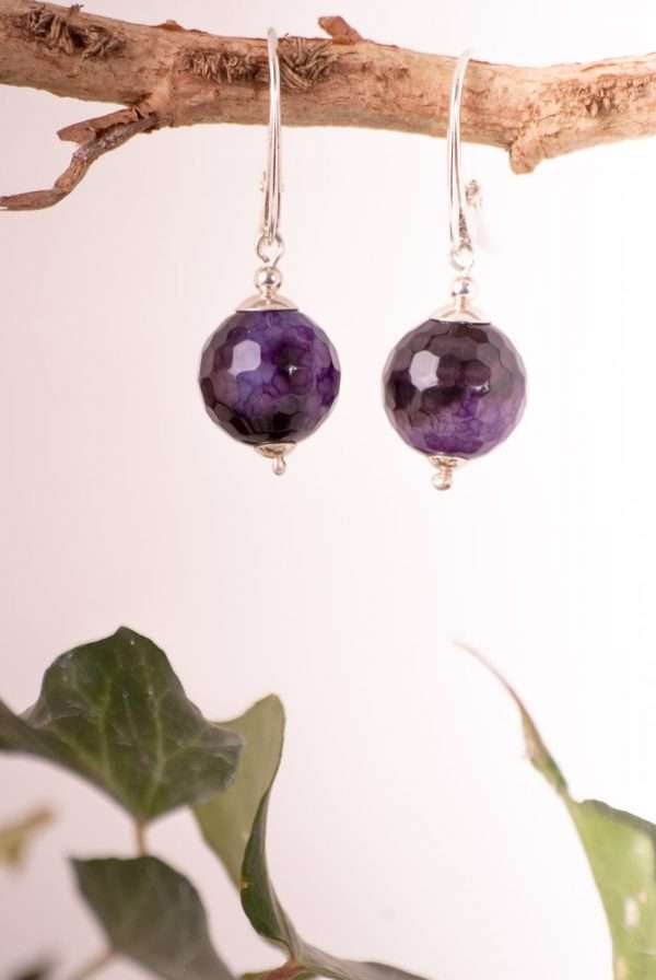 Timeless silver earrings. Made of sterling silver and faceted agate balls in beautiful shades of purples. Hung on comfortable English hooks. Suitable for any outfit and looks great.
