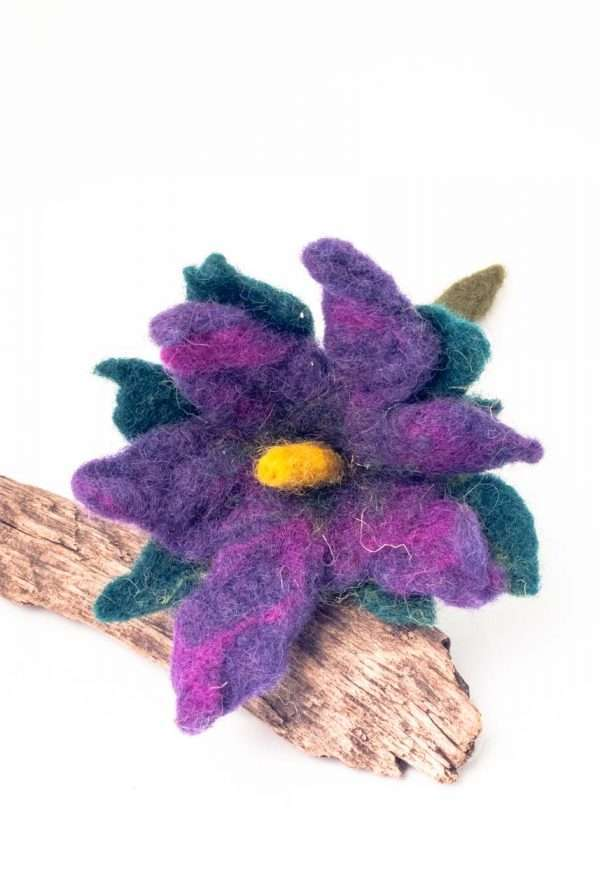 Felt Brooch Purple Green Flower