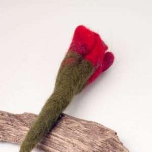 Felt Brooch Red Rose Flower
