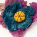 Felt Brooch Teal and Pink