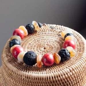 Trio Bracelet Agate Coral Lava