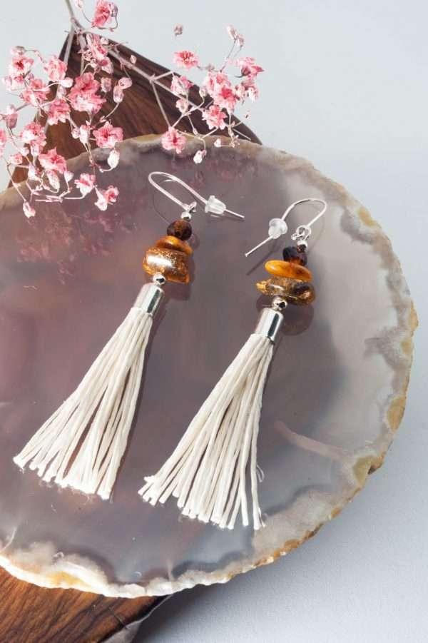 Amber Tassel Earrings