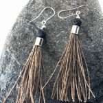 Black Lava Tassel Earrings