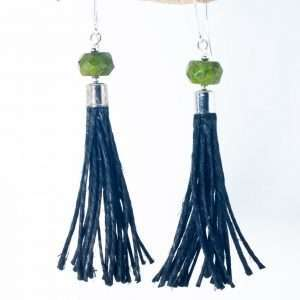 Green Howlite Tassel Earrings