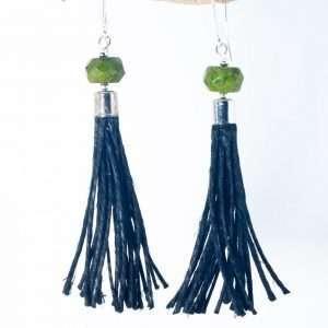 Green Howlite Tassel Earrings