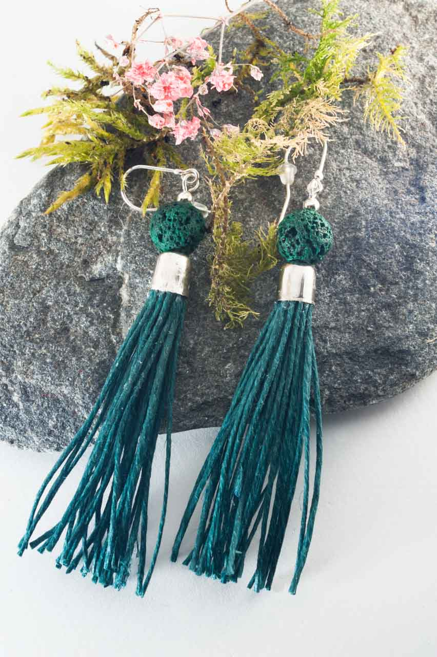 Green Lava Tassel Earrings