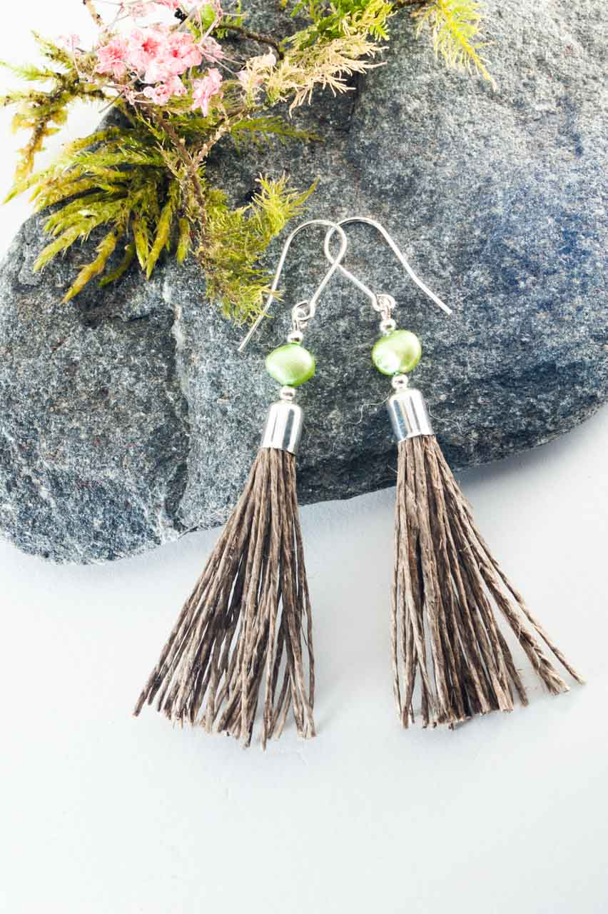 Green Pearl Tassel Earrings