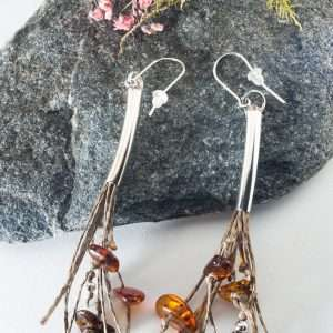 Long Amber Tassel Earrings