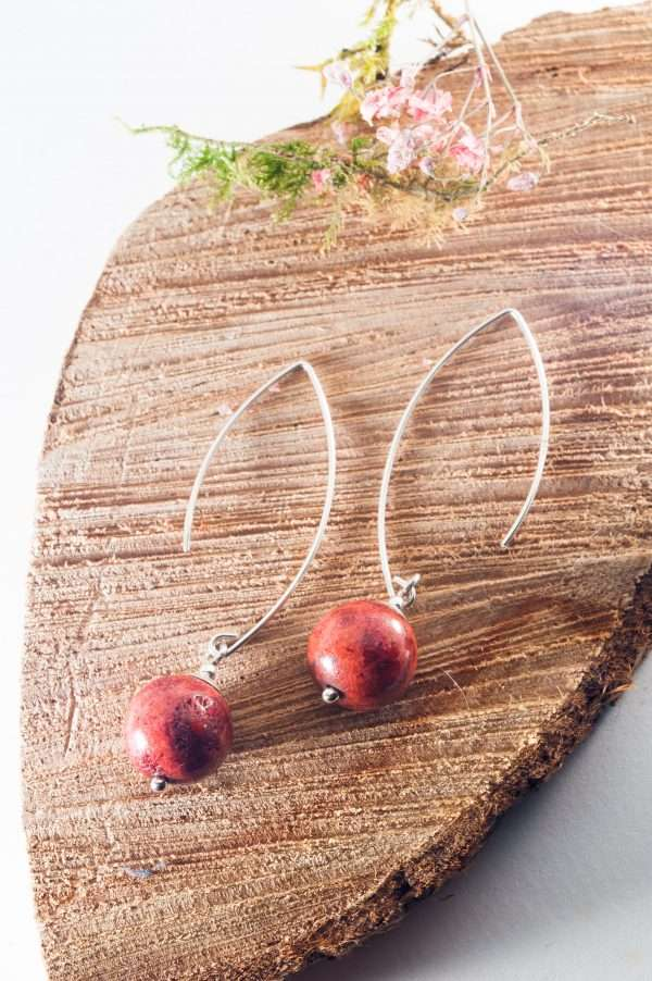 Coral Ball Earrings