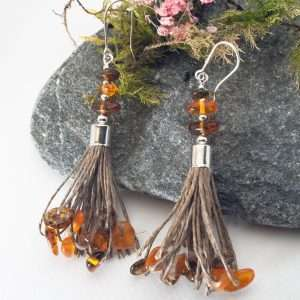 Amber Tassel Earrings V