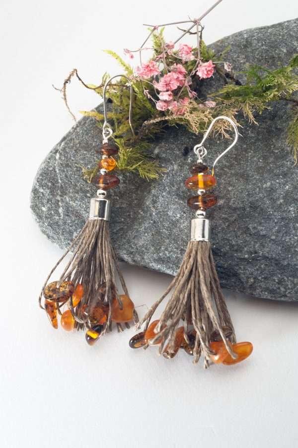 Handmade Amber Tassel Earrings