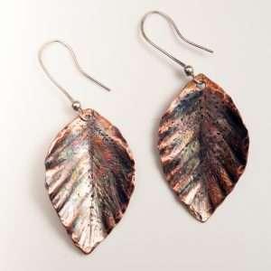 Hammered Copper Leaves Earrings