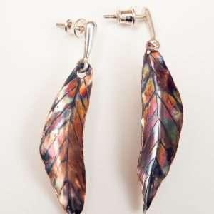 Flamed Copper Earrings