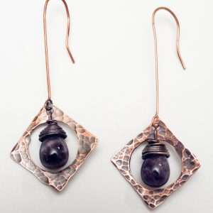 Amethyst Copper Earrings.