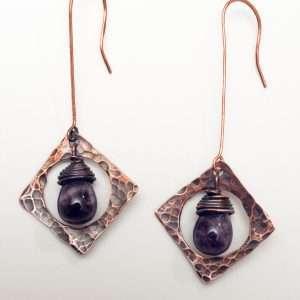 Amethyst Copper Earrings.