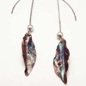 Flame Copper Leaf Earrings