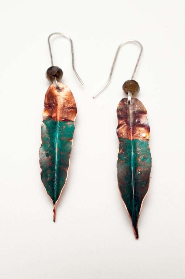 Green Copper Leaf Earrings