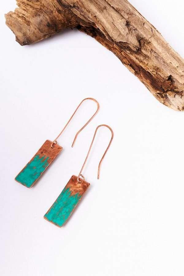 Rectangle Copper Earrings