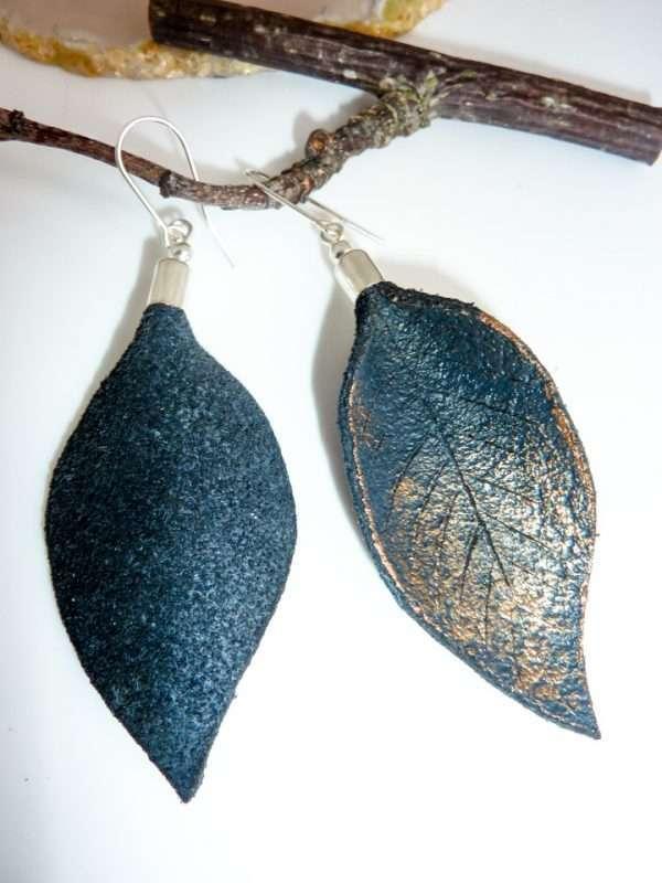 Leather Earrings Handmade Hand Painted by Ertisun-3