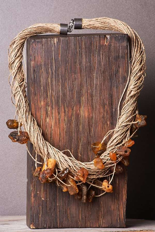 Eco Amber Linen Necklace Pic 8
