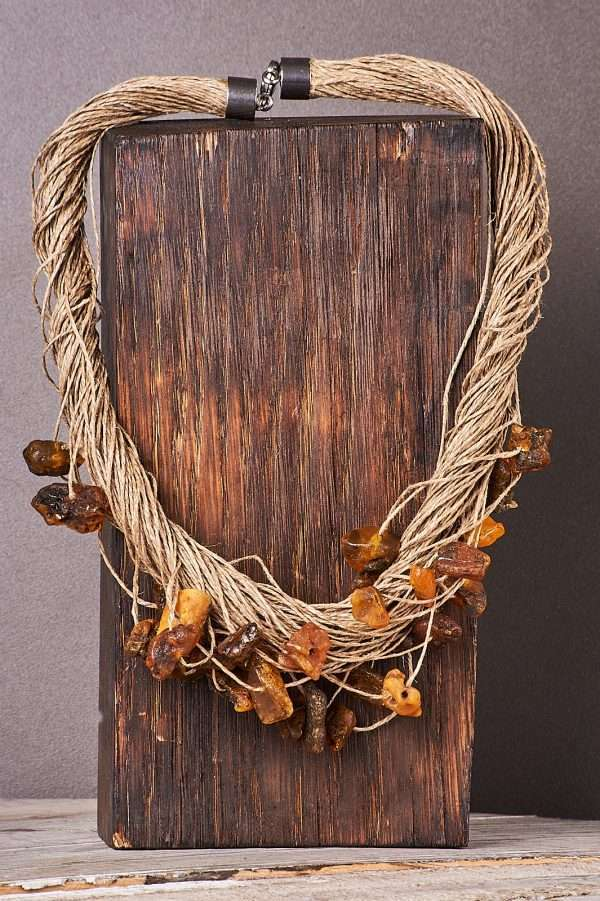 Eco Amber Linen Necklace Pic 7