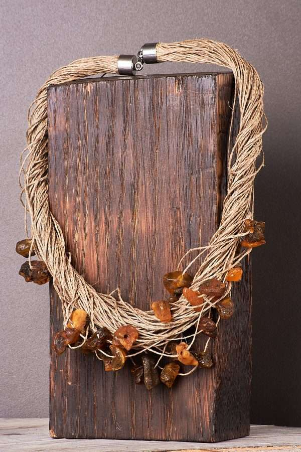 Eco Amber Linen Necklace Pic 6