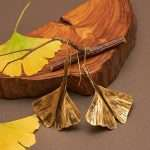 Ginkgo Fly Gold Earrings