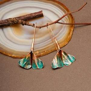 Ginkgo Earrings Green II