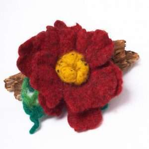 Felt Brooch Flower Red