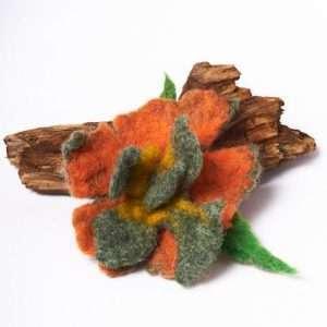 Felt Brooch Orange Flower