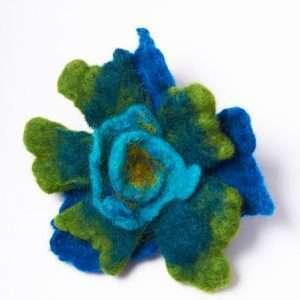 Ocean Felt Brooch Flower