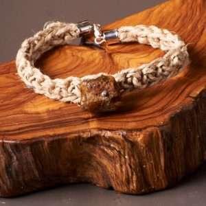 Eco Linen Amber Bracelet