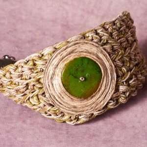 Eco Linen Green Bracelet