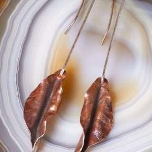Flame Copper Leaf Earrings