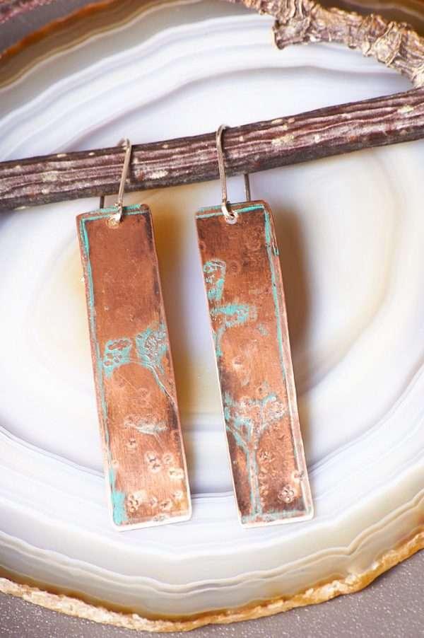 Rectangle Copper Botanical Earrings