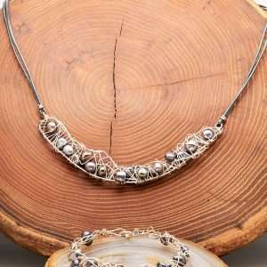 Natural Pearls Set Necklace and Bracelet