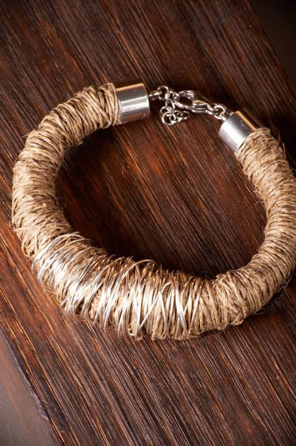 Eco Linen Bracelet displayed on the wood designed by Ertisun