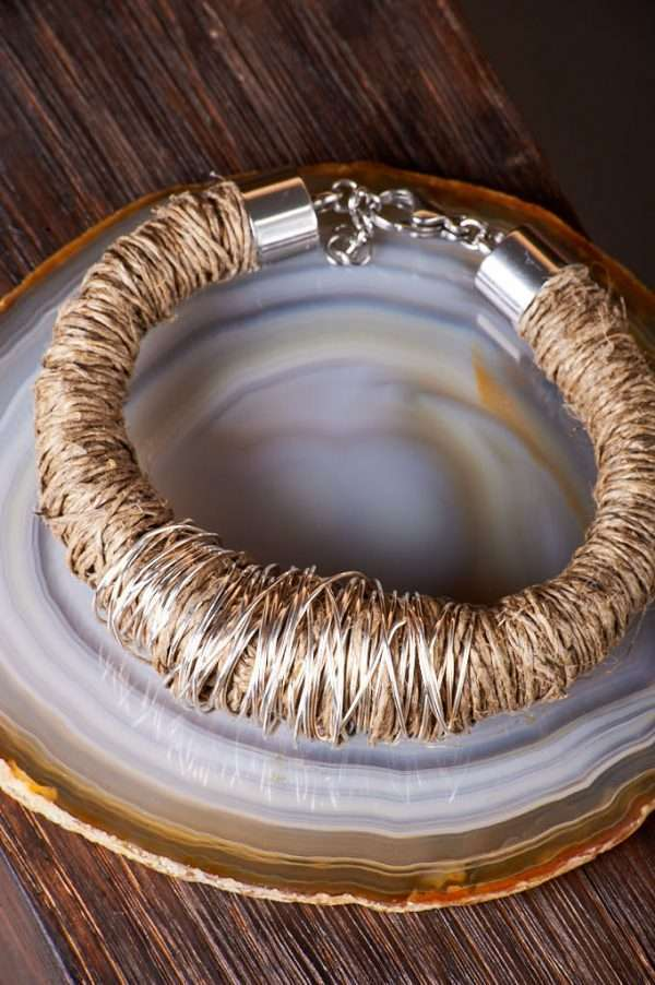 Eco Linen Bracelet displayed on the agate background designed by Ertisun