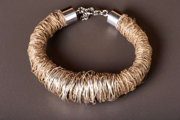 Eco Linen Bracelet displayed on the grey background designed by Ertisun