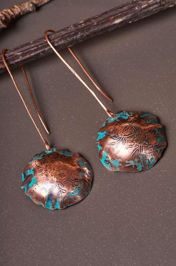 Boho Botanical Copper Earrings Handmade & Unique Earrings | One of a Kind Earrings