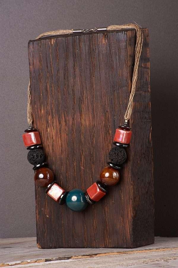 Multi Ceramic Necklace Pic 4
