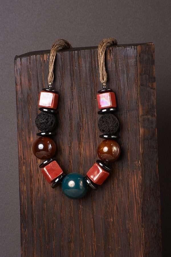 Multi Ceramic Necklace Pic 2
