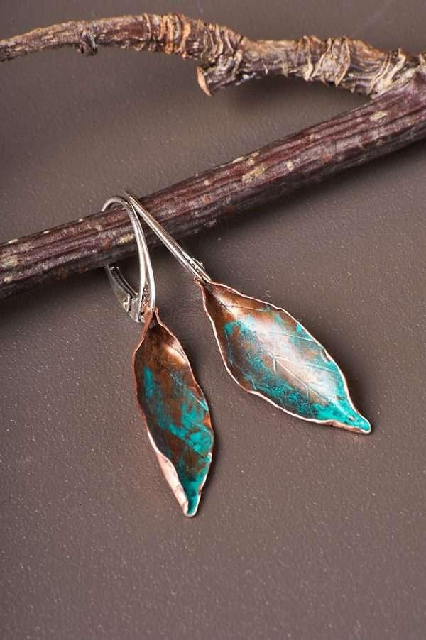 Delicate Copper Leaf Earrings Handmade & Unique Earrings   One of a Kind Earrings
