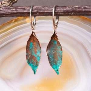 Delicate Copper Leaf Earrings