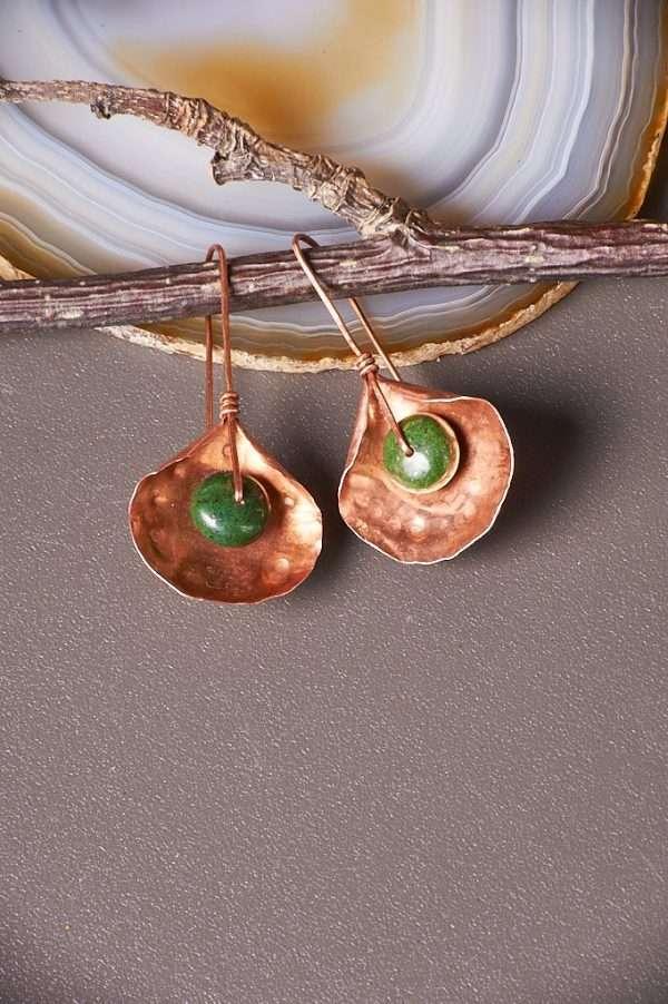 Jasper Copper Earrings