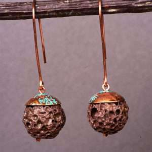 Lava and Patina Copper Earrings